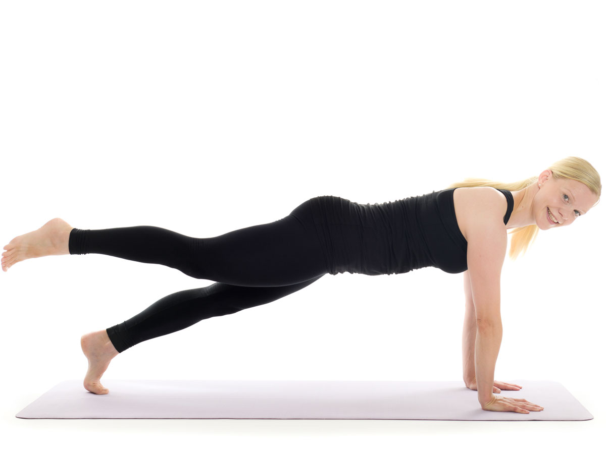 leg lift in plank position